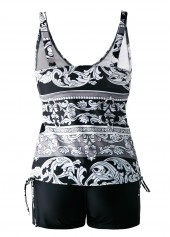 wholesale V Neck Open Back Drawstring Side Printed Tankini