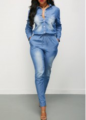 wholesale Long Sleeve Button Up Drawstring Waist Denim Jumpsuit