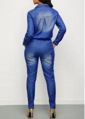 wholesale Turndown Collar Button Up Drawstring Waist Denim Jumpsuit
