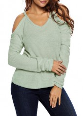 V Neck Cold Shoulder Asymmetric Sweater