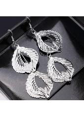 wholesale Leaf Shape Pendant Silver Metal Earrings