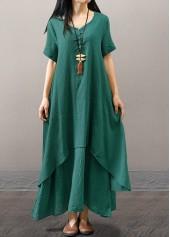 V Neck Green Short Sleeve Maxi Dress