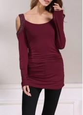 Cold Shoulder Rhinestone Embellished Ruched Burgundy T Shirt