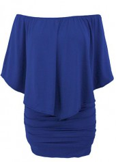 Boat Neck Ruffle Overlay Royal Blue Mini Dress