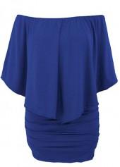 Boat Neck Ruffle Overlay Royal Blue Mini Dress
