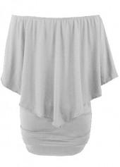 Off the Shoulder Ruffle Overlay Grey Dress