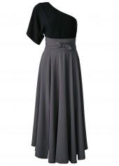 One Shoulder Top and Front Slit Belted Skirt