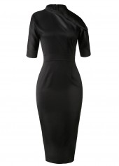 Skew Neck Back Slit High Waist Sheath Dress