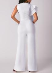 wholesale Flouncing Round Neck Sleeveless Pocket White Jumpsuit