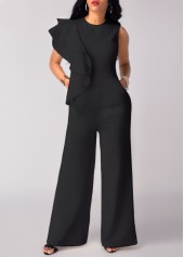Flouncing Black High Waist Wide Leg Jumpsuit