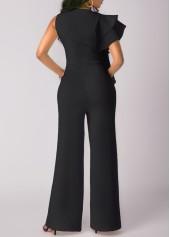 wholesale Flouncing Black High Waist Wide Leg Jumpsuit