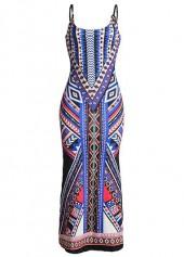Open Back Spaghetti Strap Double Slit Printed Maxi Dress