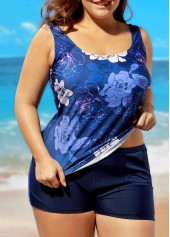 wholesale Plus Scoop Neck Flower Print Top and Navy Shorts