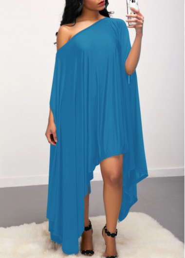 Asymmetric Hem Blue Skew Neck Dress