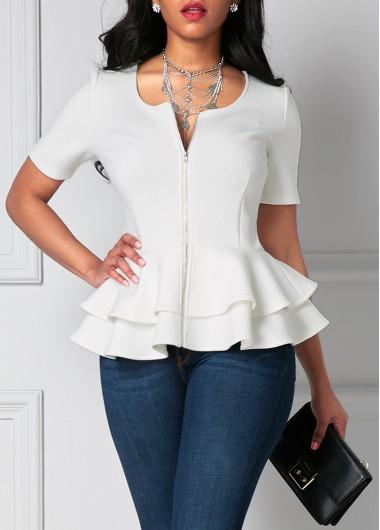 White Zipper Up Flouncing Layered Short Sleeve Blouse
