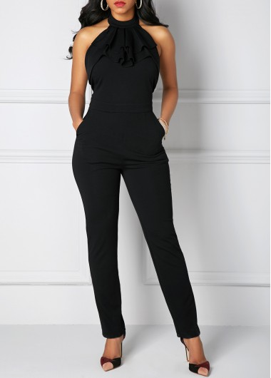 Pocket Solid Black Halter Neck Jumpsuit