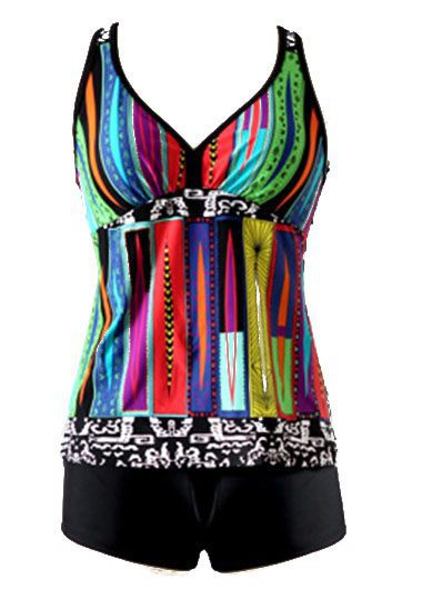 Printed Padded Black Racerback Tankini Set
