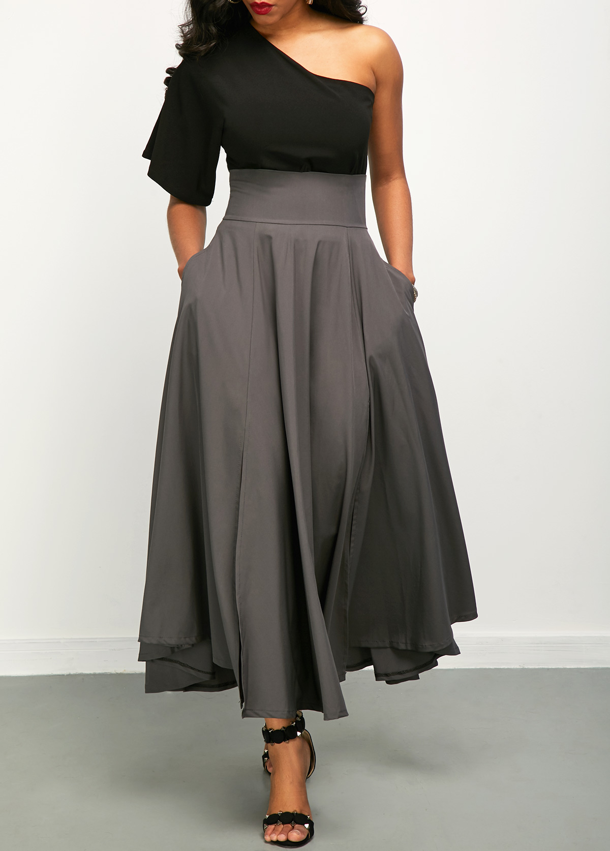 One Shoulder Top And Front Slit Belted Skirt Rosewe Com