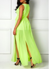 V Neck Sleeveless Light Green Maxi Dress