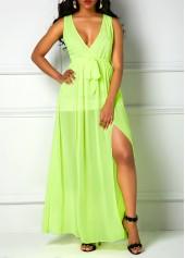 wholesale V Neck Sleeveless Light Green Maxi Dress
