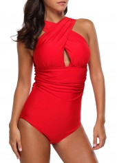 Orange Red Criss Cross Front One Piece Swimwear