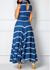 wholesale Printed V Neck Cutout Back Navy Maxi Dress