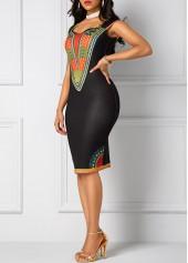 wholesale Black Open Back Dashiki Print Sheath Dress