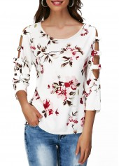Round Neck Flower Print Cutout Sleeve T Shirt