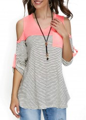 V Neck Stripe Print Cold Shoulder T Shirt