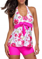 Bowknot Embellished Flower Print Top and Rose Shorts