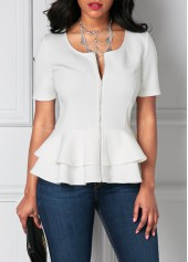 wholesale White Zipper Up Flouncing Layered Short Sleeve Blouse