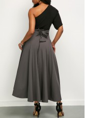 wholesale One Shoulder Top and Front Slit Belted Skirt