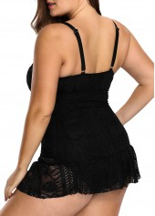 wholesale Plus Lace Patchwork Black Open Back Swimdress