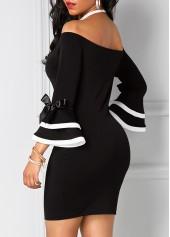 wholesale Black Off the Shoulder Flare Sleeve Sheath Dress
