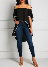 Batwing Sleeve Off the Shoulder Asymmetric Hem Blouse