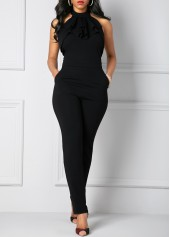 wholesale Pocket Solid Black Halter Neck Jumpsuit