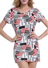 Flag Print Round Neck Short Sleeve Mini Dress