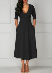 wholesale Pocket Design Black V Neck Half Sleeve Dress
