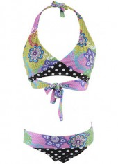 Tie Back Halter Neck Printed Bikini