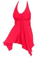 Solid Red Halter Neck Asymmetric Hem Swimdress