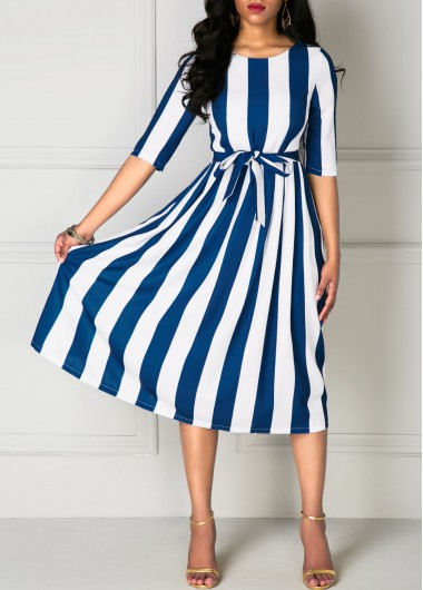 Belted Stripe Print Half Sleeve Dress