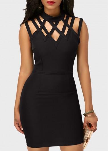 Sleeveless High Neck Cutout Black Sheath Dress