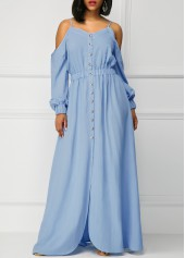 Blue Long Sleeve Off the Shoulder Maxi Dress