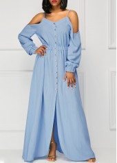 wholesale Blue Long Sleeve Off the Shoulder Maxi Dress
