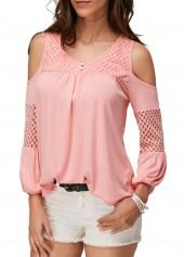 Pink Pierced Cold Shoulder V Neck Blouse