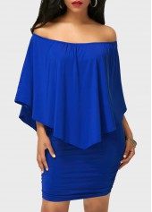 Off the Shoulder Ruffle Overlay Royal Blue Mini Dress