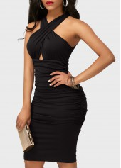 wholesale Ruched High Waist Black Sleeveless Sheath Dress