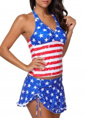 Stringy Selvedge Halter Neck Star Print Tankini Set