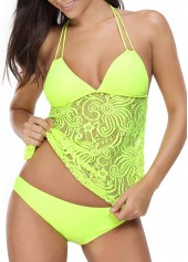 Halter Lace Panel Tie Back Yellow Tankini