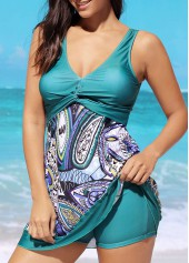 wholesale Printed Open Back Patchwork Swimdress and Shorts